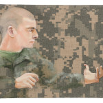 "Queror 1, 2014 Oil on US tactical fabric 6""h x 8""w"
