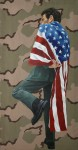 "Queror 11, 2014Oils on US tactical fabric70""h x 36""w"