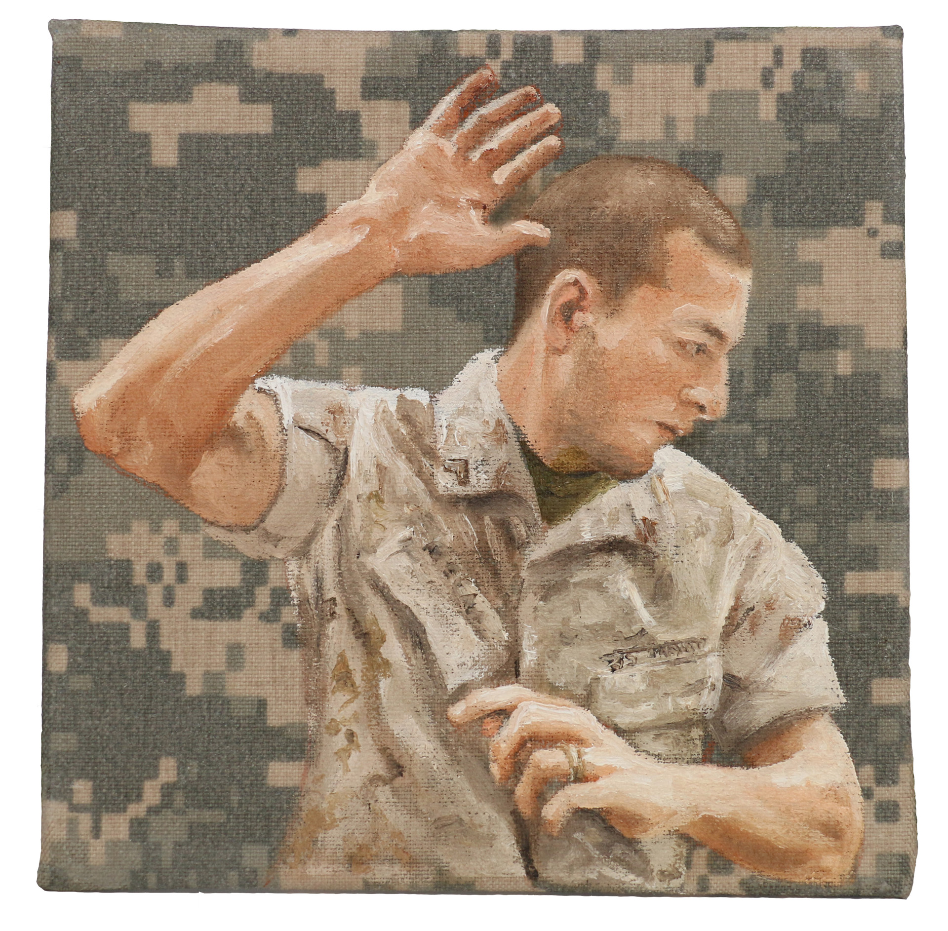 "Queror 3, 2014Oils on US tactical fabric6""h x 6""w"
