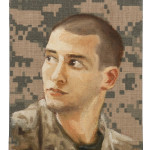 "Queror 4, 2014  Oils on US tactical fabric 7""h x 5""w"
