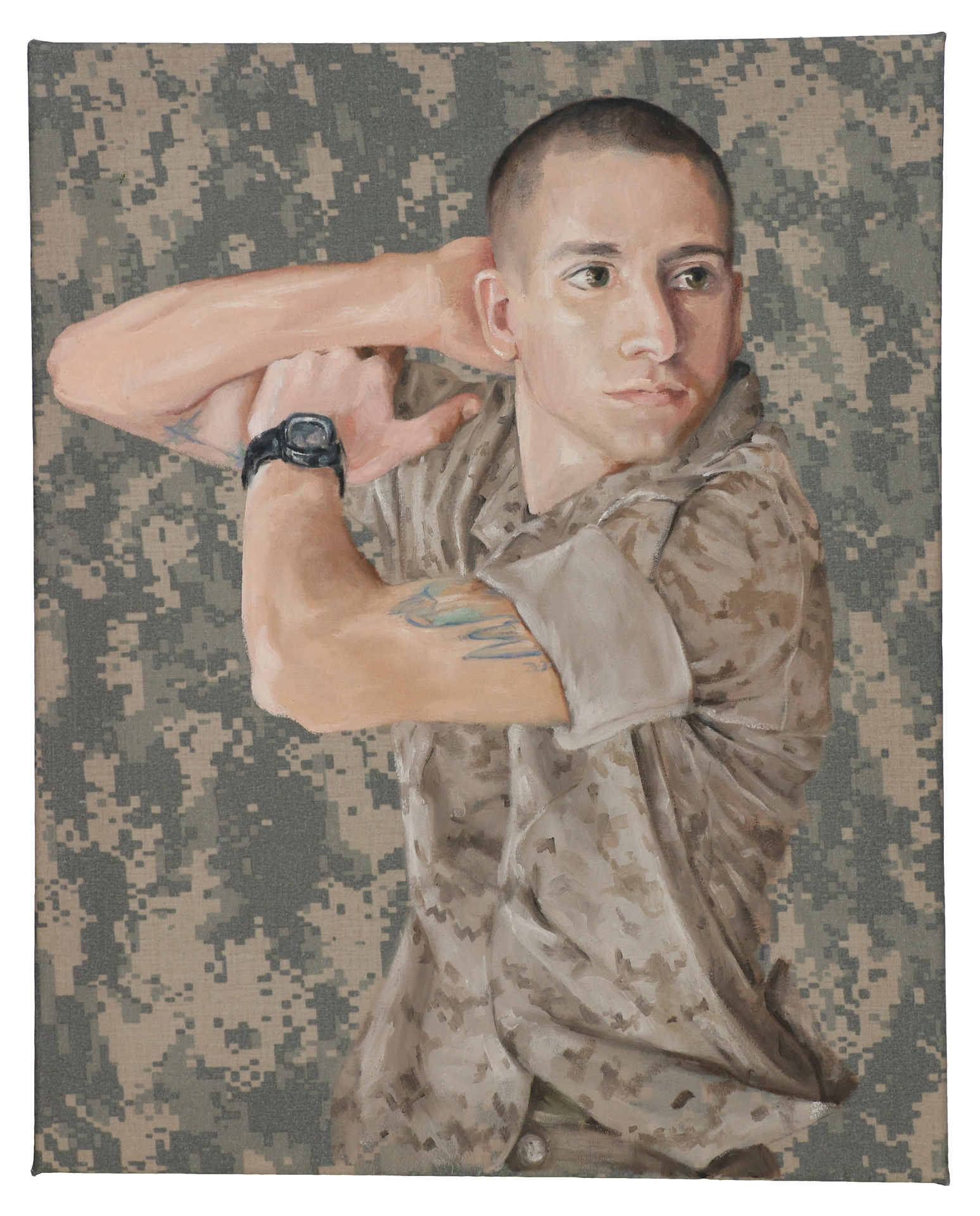 "Queror 9, 2014Oils on US tactical fabric 20""h x 16""w"