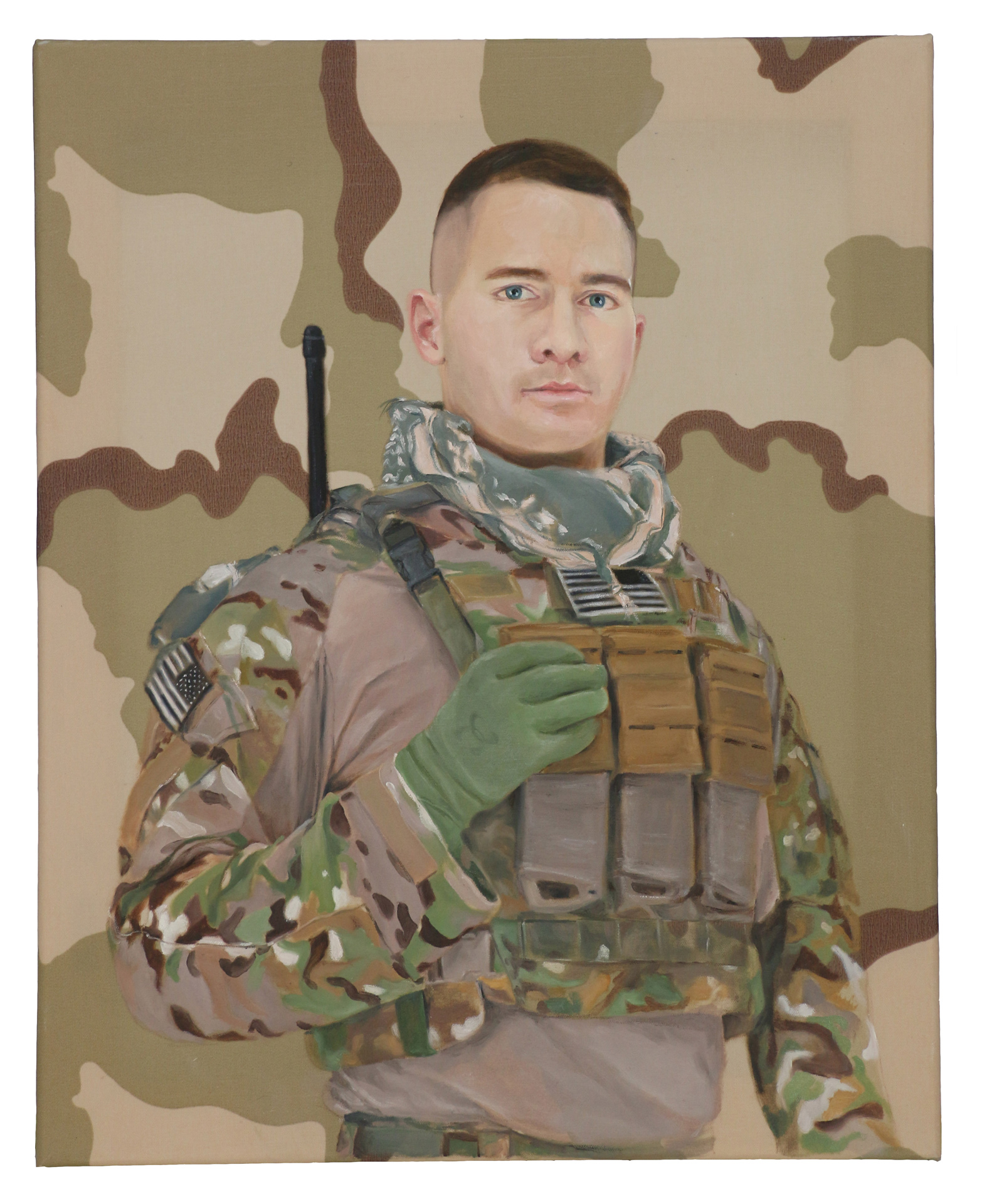 "Queror 5, 2014Oils on US tactical fabric20""h x 16""w"
