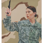 "Queror 7, 2014Oils on US tactical fabric20""h x 16""w"