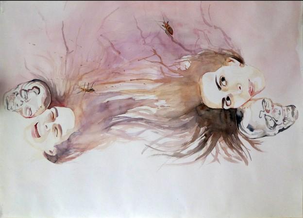 Double Entendre, 2015Watercolor on Paper30″ x 41.5″