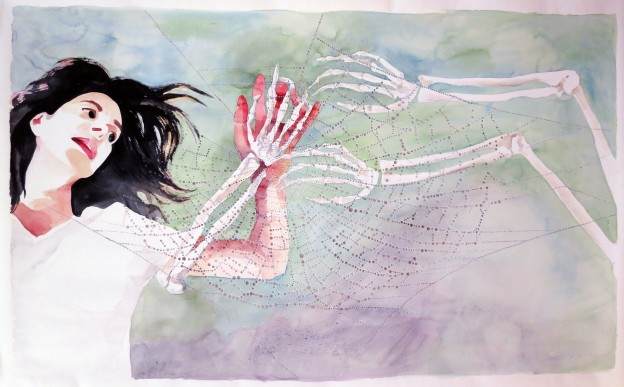 The Web (Dear Patria) 2015Watercolor on Paper41.5″  x 72″