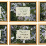 "In A Green And Peaceful NeighborhoodEmbroidered doilies on drone photos 13"" x 17"" ea"