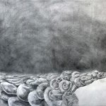 "Self-Portrait With EntrailsPowder graphite and silver leaf60""h x 270""w"