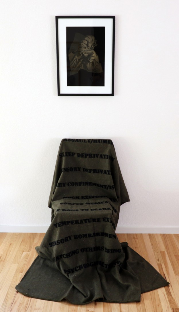 Beforehand/Afterwards II 2015-2016 Pigment Ink print on Archival paper, wood chair and embroidered military blanket dimensions varied