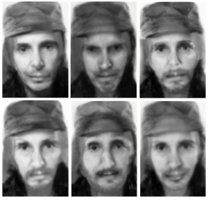 Fused, Fidel In Me (Contempt, Anger, Sadness, Disgust, Surprise,Happiness) 2015 Pigment Ink print on Archival paper six panels, 19″ x 13″ each