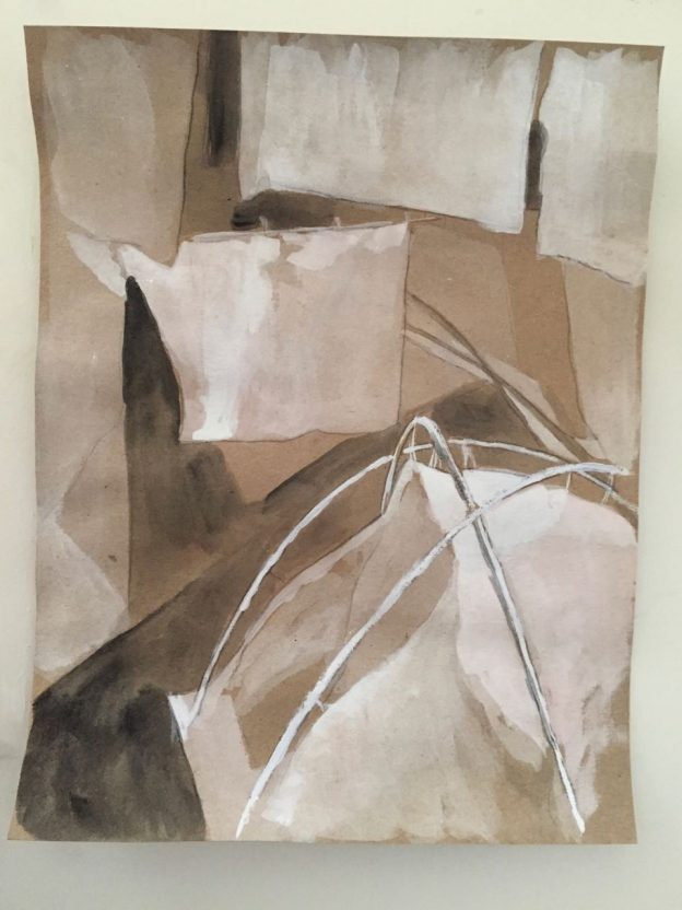 "No Hiding Place Down Here, study 3Mixed media on paper11"" x 8"""