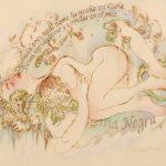 "Desnuda Eres AzulBurns and watercolor11"" x 14"""